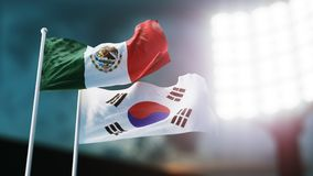 illustration 3D Deux drapeaux nationaux ondulant sur le vent Stade de nuit Championnat 2018 Le football Le Mexique contre la Coré Illustration de Vecteur