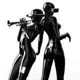 illustration 3D Deux le cyborg élégant la femme Images libres de droits