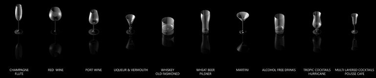 illustration 3D du grand ensemble de divers verres pour les boissons fortes d'alcool et de cocktails d'isolement sur la vue noire illustration libre de droits