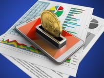 illustration 3d du téléphone blanc au-dessus du fond bleu avec les papiers d'affaires et le bitcoin Photos stock