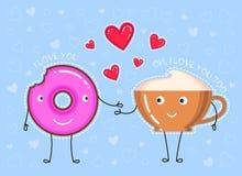 Illustration d'Ector de beignet avec le lustre rose, tasse de café Images stock