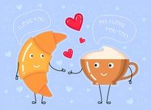 Illustration d'Ector de croissant, tasse de café ce qui font une déclaration de l'amour Photo stock