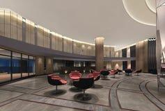 Illustration 3d einer deluxen Hotellobby lizenzfreie stockbilder