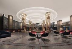 Illustration 3d einer deluxen Hotellobby Lizenzfreies Stockfoto