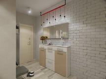 Illustration 3D einer Halle in den beige Tönen Stockbild