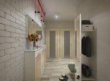 Illustration 3D einer Halle in den beige Tönen Stockfotos