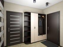 Illustration 3D einer Halle in den Schwarzweiss-Farben Lizenzfreie Stockfotos