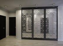 Illustration 3D einer Halle in Schwarzweiss Stockfotos