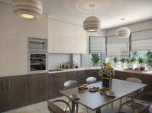 Illustration 3d einer Küche in den beige Tönen Stockfotografie