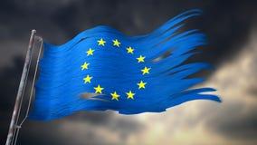 Illustration 3d einer zerrissenen und heftigen Flagge der Europäischen Gemeinschaft Stockfotos
