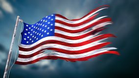 Illustration 3d einer zerrissenen und heftigen Flagge des vereinigten angegebenen O Stockbilder
