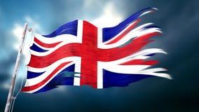 Illustration 3d einer zerrissenen und heftigen Flagge des Vereinigten Königreichs Lizenzfreies Stockfoto