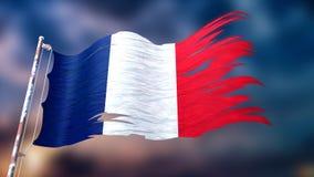 Illustration 3d einer zerrissenen und heftigen Flagge von Frankreich Lizenzfreie Stockfotografie