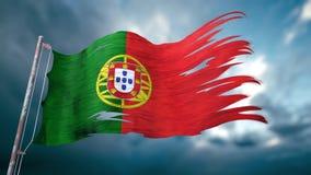 Illustration 3d einer zerrissenen und heftigen Flagge von Portugal Stockbilder