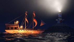 Illustration 3D eines alten hölzernen Kriegsschiffssegelns bis zum Nacht nah an Leuchtturm Stockfotos