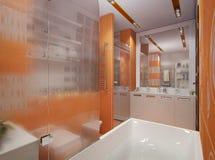 Illustration 3D eines Badezimmers in der orange Farbe Stockfoto