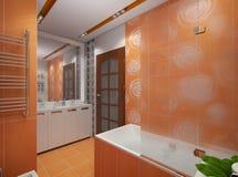 Illustration 3D eines Badezimmers in der orange Farbe Stockfotos