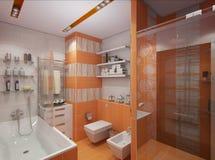 Illustration 3D eines Badezimmers in der orange Farbe Lizenzfreie Stockbilder