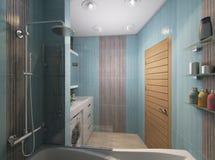Illustration 3D eines Badezimmers im Türkis tont Stockfotografie