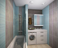 Illustration 3D eines Badezimmers im Türkis tont Lizenzfreies Stockbild