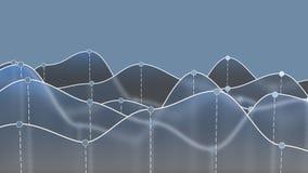 Illustration 3D eines blauen transparenten Kurvendiagramms oder der Linie Diagramm Lizenzfreies Stockfoto