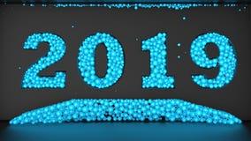 Illustration 3D eines Datums 2019, einem Satz aus blauen Bällen bestehend Wiedergabe 3d Die Idee für den Kalender stock abbildung