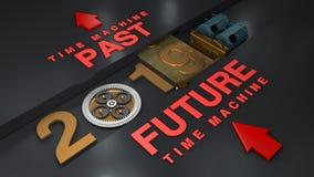 Illustration 3D eines Elektromotors, der den Gang mit Gängen und Planetengetriebe dreht und das Datum 2019 bewegt Die Idee eines  vektor abbildung