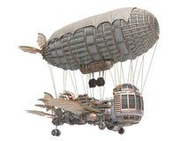 Illustration 3d eines Fantasieluftschiffs in steampunk Art auf lokalisiertem weißem Hintergrund lizenzfreie abbildung