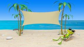 Illustration 3D eines Frosches in einem Deckchair auf dem Strand stockfoto