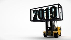 Illustration 3D eines Gabelstaplers, der einen Behälter mit einem Datum des neuen Jahres 2019 anhob Die Idee für einen Kalender,  lizenzfreie abbildung