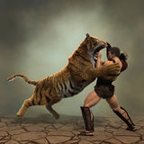 Illustration 3D eines Gladiators, der mit einem Tiger kämpft Stockfotos