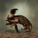 Illustration 3D eines Gladiators, der mit einem Tiger kämpft Lizenzfreie Stockbilder
