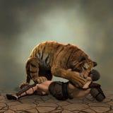 Illustration 3D eines Gladiators, der mit einem Tiger kämpft Stockbilder