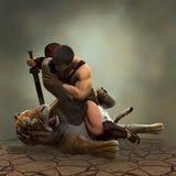 Illustration 3D eines Gladiators, der mit einem Tiger kämpft Lizenzfreies Stockfoto