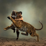 Illustration 3D eines Gladiators, der mit einem Tiger kämpft Lizenzfreie Stockfotografie