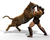 Illustration 3D eines Gladiators, der mit einem Tiger lokalisiert auf weißem Hintergrund kämpft Stockfotografie