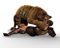 Illustration 3D eines Gladiators, der mit einem Tiger lokalisiert auf weißem Hintergrund kämpft Stockbild