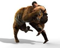 Illustration 3D eines Gladiators, der mit einem Tiger lokalisiert auf weißem Hintergrund kämpft Lizenzfreie Stockfotos