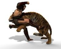 Illustration 3D eines Gladiators, der mit einem Tiger lokalisiert auf weißem Hintergrund kämpft Lizenzfreies Stockfoto
