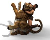 Illustration 3D eines Gladiators, der mit einem Tiger lokalisiert auf weißem Hintergrund kämpft Lizenzfreies Stockbild