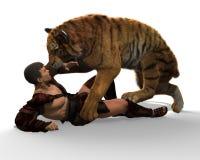 Illustration 3D eines Gladiators, der mit einem Tiger lokalisiert auf weißem Hintergrund kämpft Lizenzfreie Stockfotografie