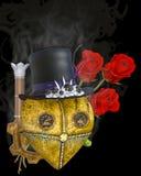 Illustration 3D eines Herzens und der Rosen Steampunk stockfotos