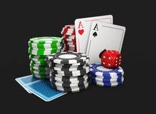 Illustration 3D eines Hintergrundes mit Kasino-Elementen, lokalisiertes Schwarzes Lizenzfreie Stockfotografie