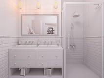 Illustration 3d eines Innenarchitekturbadezimmers Stockfoto