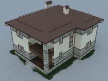 Illustration 3d eines Landhauses Stockbilder