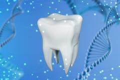 Illustration 3d eines menschlichen Zahnes auf einem blauen abstrakten Hintergrund Konzept der Technologie in der Zahnheilkunde stockfoto