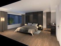 Illustration 3D eines modernen Schlafzimmers Lizenzfreie Stockfotos