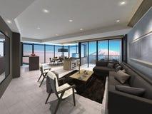 Illustration 3D eines modernen Wohnzimmers Stockfoto