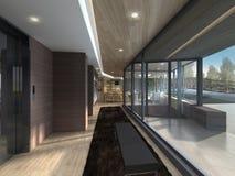 Illustration 3D eines modernen Wohnzimmers Lizenzfreies Stockbild