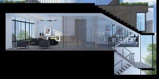 Illustration 3D eines modernen Wohnzimmers stockbilder